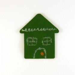Maison en feutrine verte - peinture pailletées