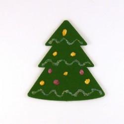 Sapin en feutrine verte -peinture dorée, rose et pailletée