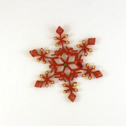 Cristal de Noël en feutrine rouge - peintures dorée, verte et pailletées