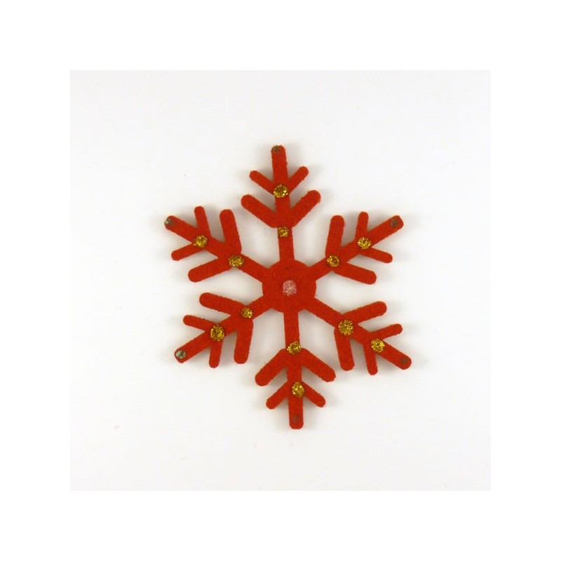 Cristal de Noël en feutrine rouge - peintures dorées