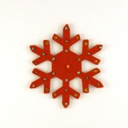 Cristal de Noël n°7 en feutrine rouge - peintures vertes et dorées