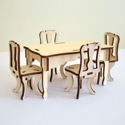 Pack 1 table et 4 chaises miniatures 3D en bois à monter