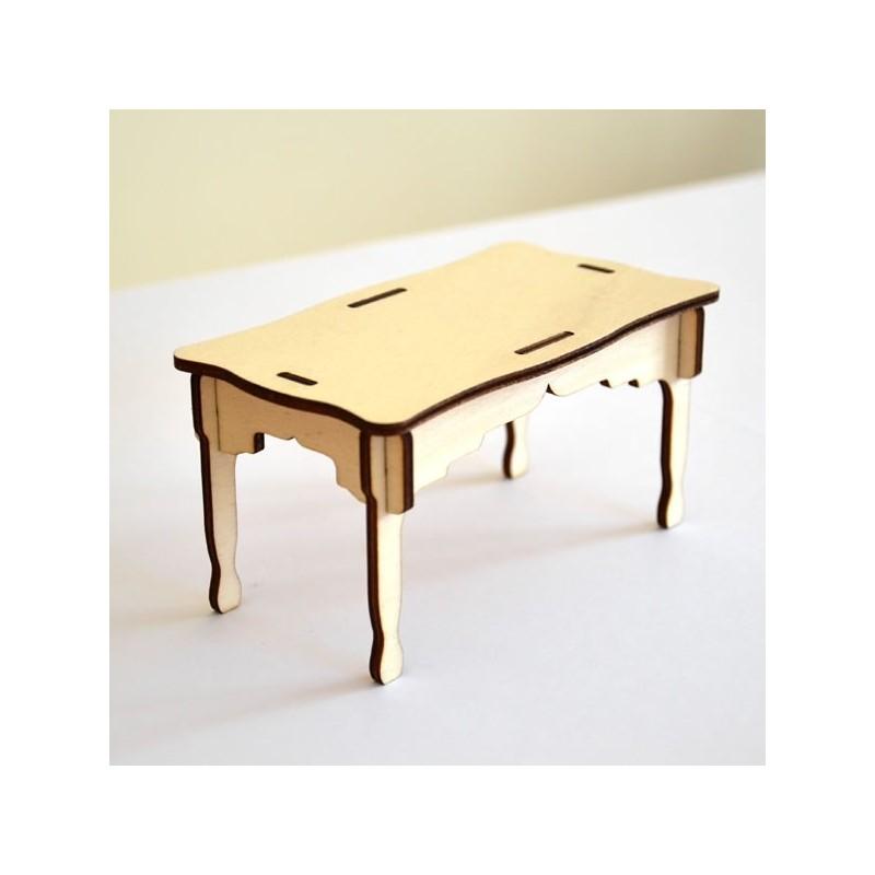 Table miniature 3D en bois