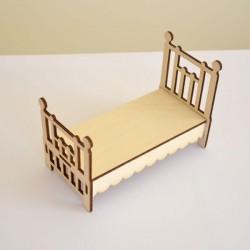 Lit 1 place pour chambre adulte miniature 3D en bois