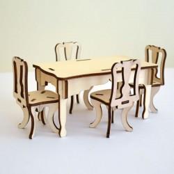 Salle à manger miniature 3D en bois : 1 table et 4 chaises