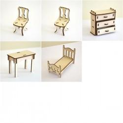 Chambre à coucher enfant miniature 3D en bois