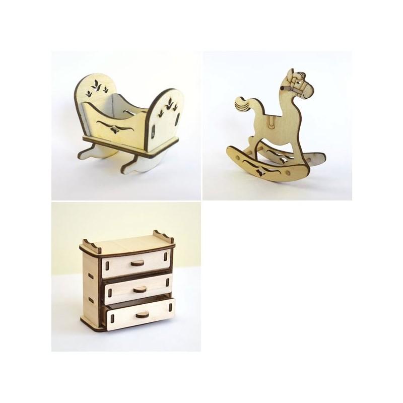 Chambre à coucher bébé miniature 3D en bois