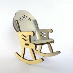 Fauteuil à bascule miniature 3D en bois