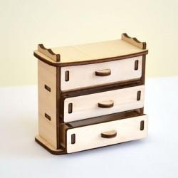 Commode miniature 3D en bois