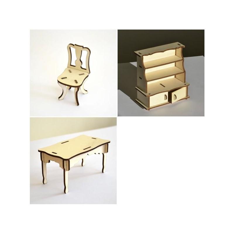 Salle manger miniature 3d en bois d coration for Salle a manger 3d