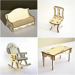 Salon miniature 3D en bois à monter