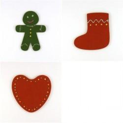 Pack 3 sujets de Noël n°6 en feutrine décorée