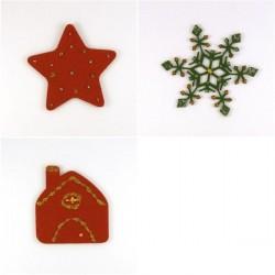 Pack 3 sujets de Noël n°7 en feutrine décorée