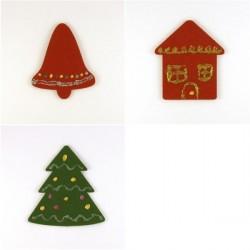 Pack 3 sujets de Noël n°8 en feutrine décorée