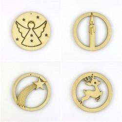 Pack suspension Noël n°1 en bois, étoile filante, cerf, bougie, ange