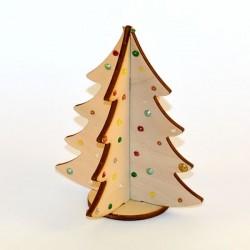 Sapin miniature 3D en bois décoré