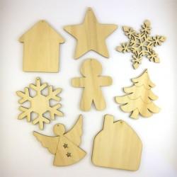 Pack suspension n°4 : 8 objets de Noël en bois
