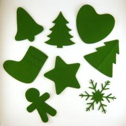 Pack suspension en feutrine N°1 : botte, coeur, sapins, bonhomme, cloche, étoile et cristal de Noël