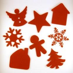 Pack suspension en feutrine N°3 : ange, bonhomme, étoile, sapin, maison et cristaux de Noël
