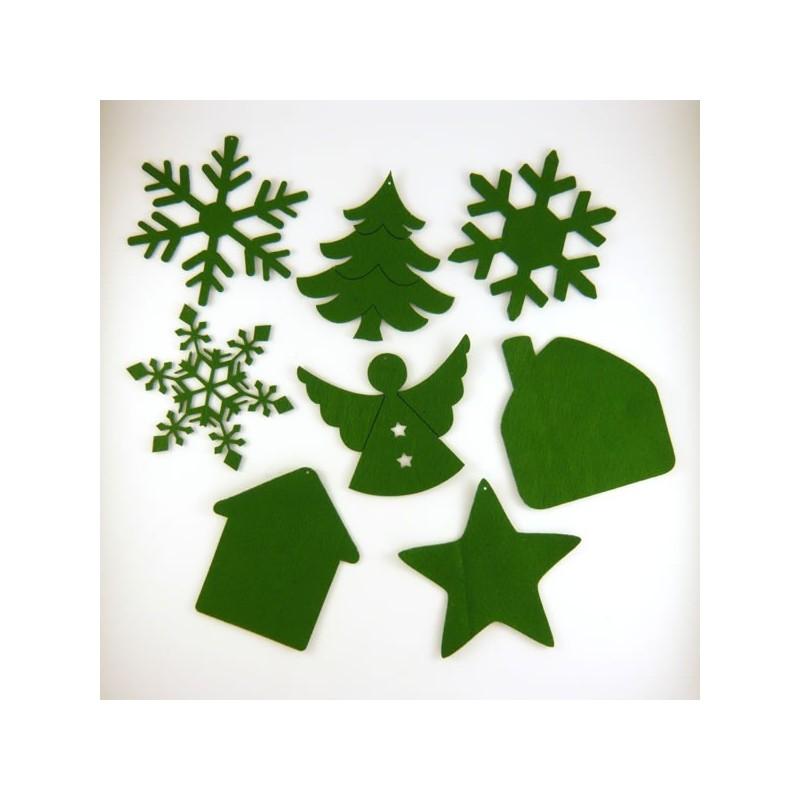 Pack suspension en feutrine N°4 : étoile, ange, maisons, sapin et cristaux de Noël