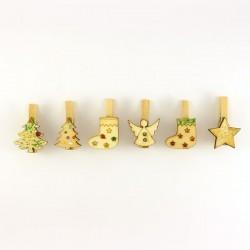 6 marques place en bois pour Noël ou fête, pack 1