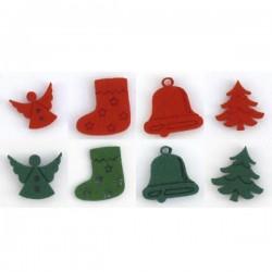 Pack de 8 sujets en feutrine pour Noël, coloris rouge et vert