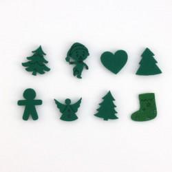 8 petits sujets de Noël en feutrine verte n°2