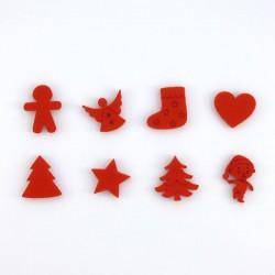 8 petits sujets de Noël en feutrine rouge n°3