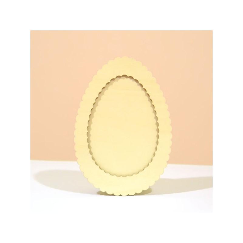 Cadre photo dentelle forme ovale, en bois