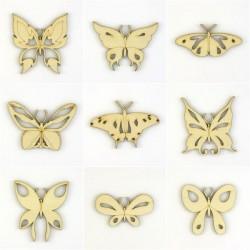 Pack de 9 papillons en bois ajouré et découpé