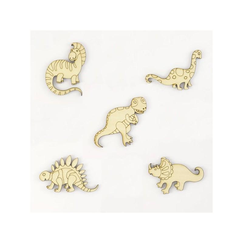 Pack de 5 dinosaures en bois