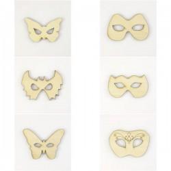 Pack de 6 masques de carnaval en bois