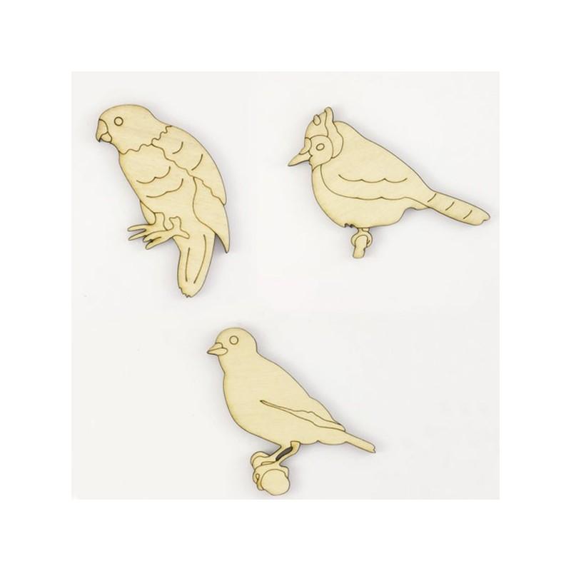 Pack de 3 petits oiseaux : perruches et canaris en bois