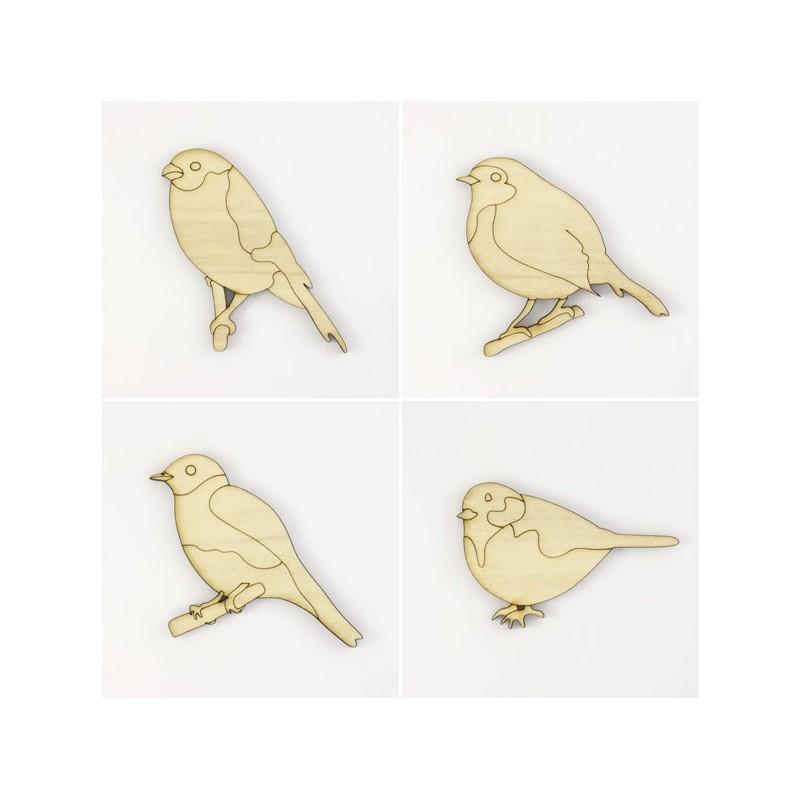 Pack 4 petits oiseaux en bois