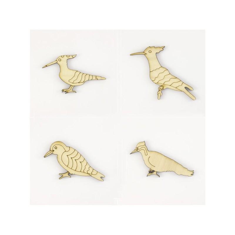 Pack  de 4 oiseaux pics en bois