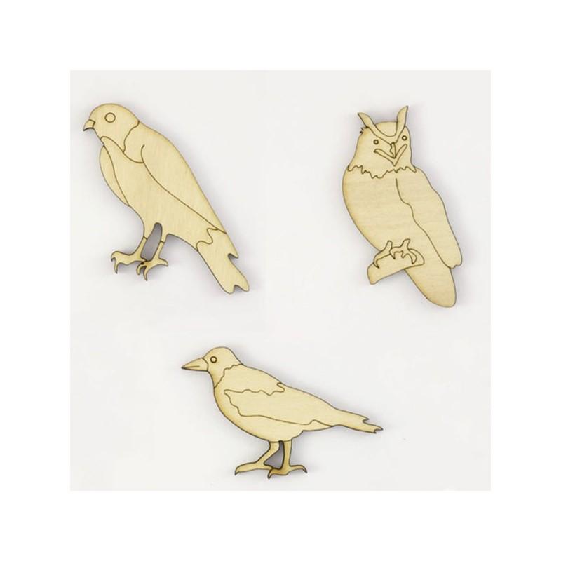 Pack de 3 oiseaux : hibou, buse et corbeau