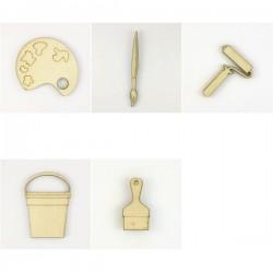 Pack peinture : rouleau à peinture, spatule, pinceau, seau et palette