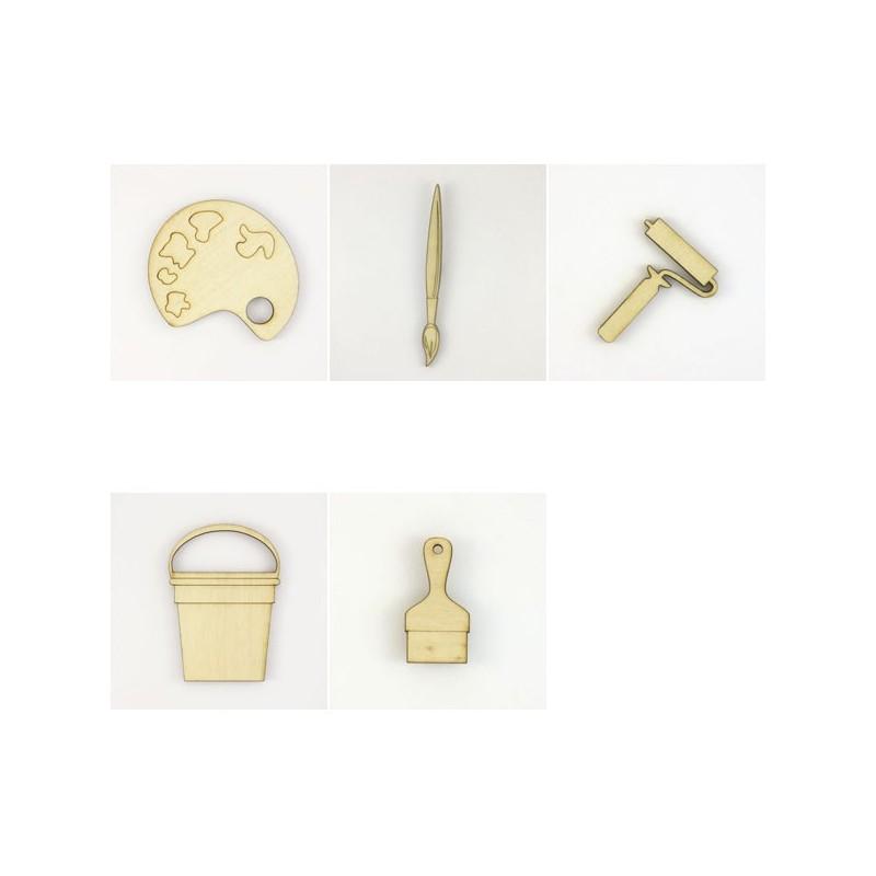 scrapbooking pack de 5 objets pour la peinture. Black Bedroom Furniture Sets. Home Design Ideas