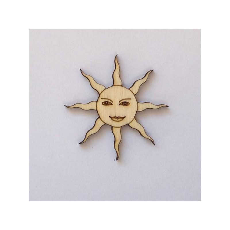 Soleil en bois - rayons dentelés