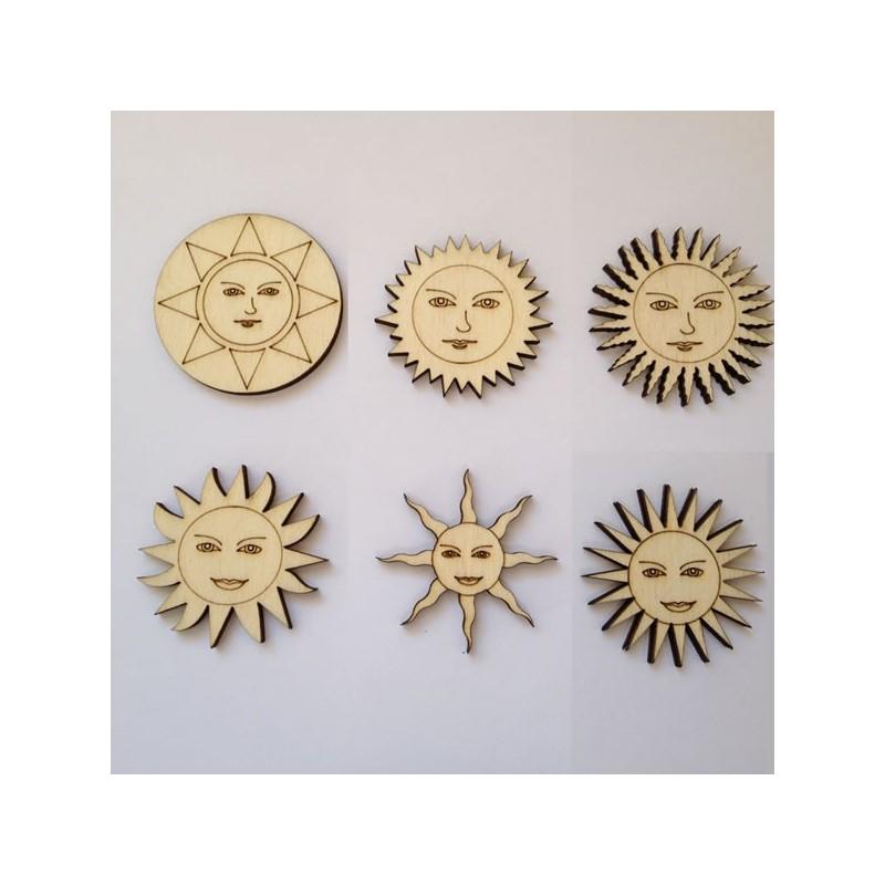 Pack de 6 soleils en bois