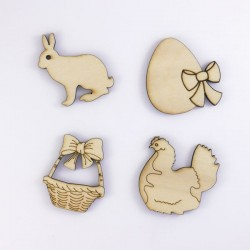 lapin, oeuf, poule, panier Pâques en bois