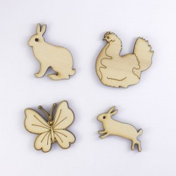poule, lapins et papillon déco de Pâques en bois