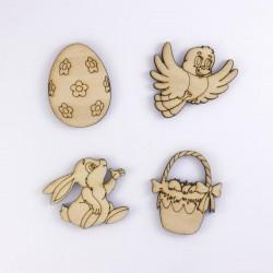 oiseau, panier, lapin et oeuf de Pâques en bois