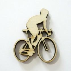 Cycliste, vélo en bois
