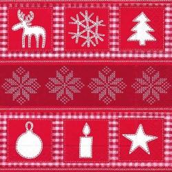 Serviette décor noel rouge