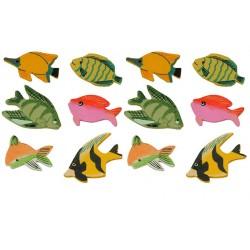 12 poissons décorés stickers