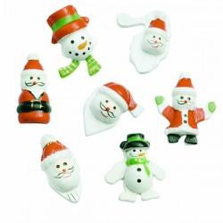 8 Père-Noel et bonhomme de neige en bois peint