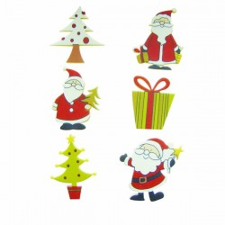 6 Père-Noël et sapins stickers en bois