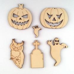 Pendentifs halloween en bois