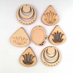 Pendentifs en bois à décorer lotus et autres